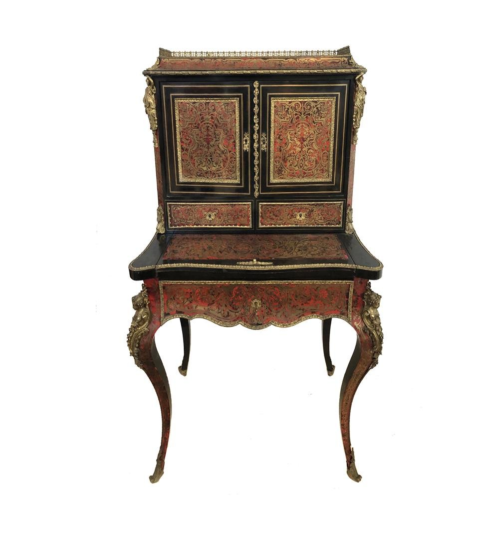 A French Bronze Mounted Boulle Ladies Desk Cabinet