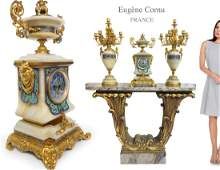 19th C. EUGENE CORNU Ormolu, Champleve, Onyx Clock Set
