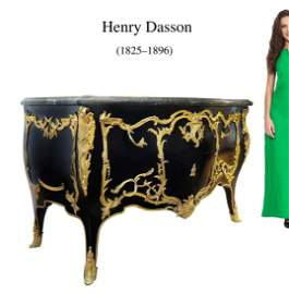 Henry Dasson Ormolu Bronze / Marble Commode, 19th C.