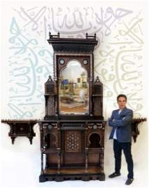A MONUMENTAL LATE 18th C. INLAID MAMLUK REVIVAL CABINET