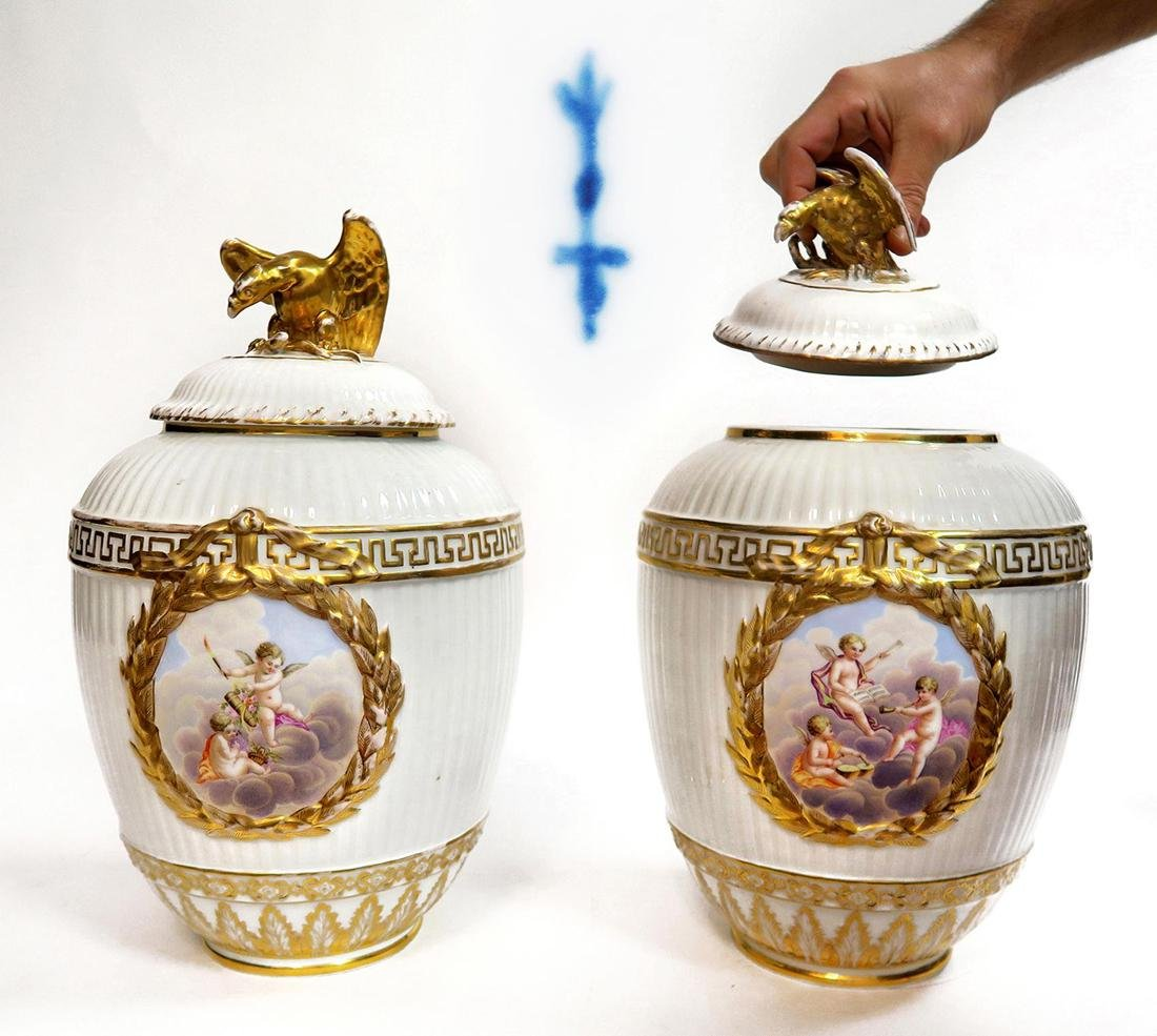 Large Pair of 19th C. Berlin KPM Vases