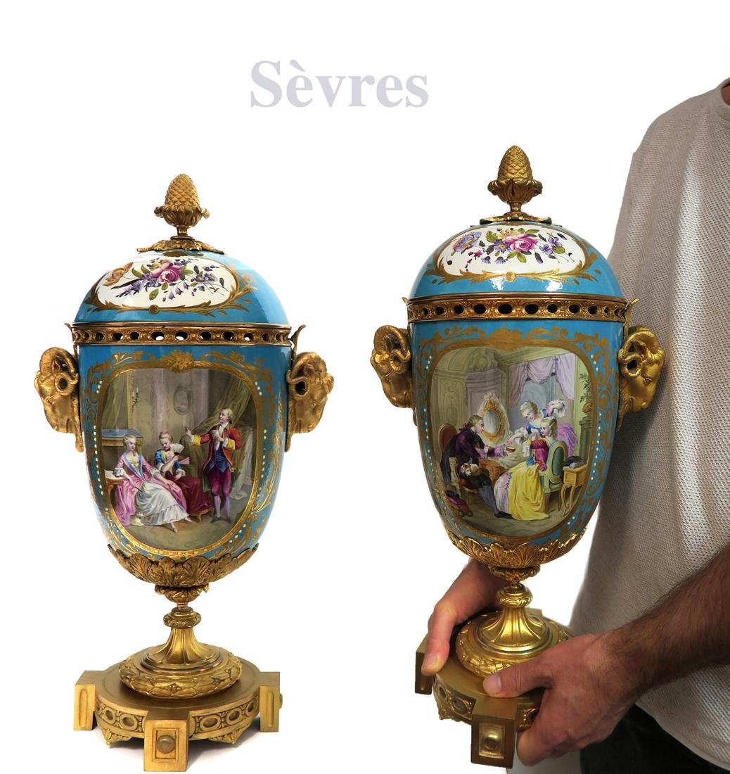 Large 19th C. Pair of Sevres Porcelain Urns & Cover