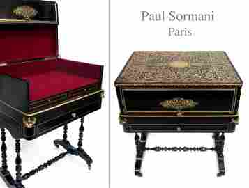 P. Sormani Signed, 19th C. French Boulle Desk Work Box