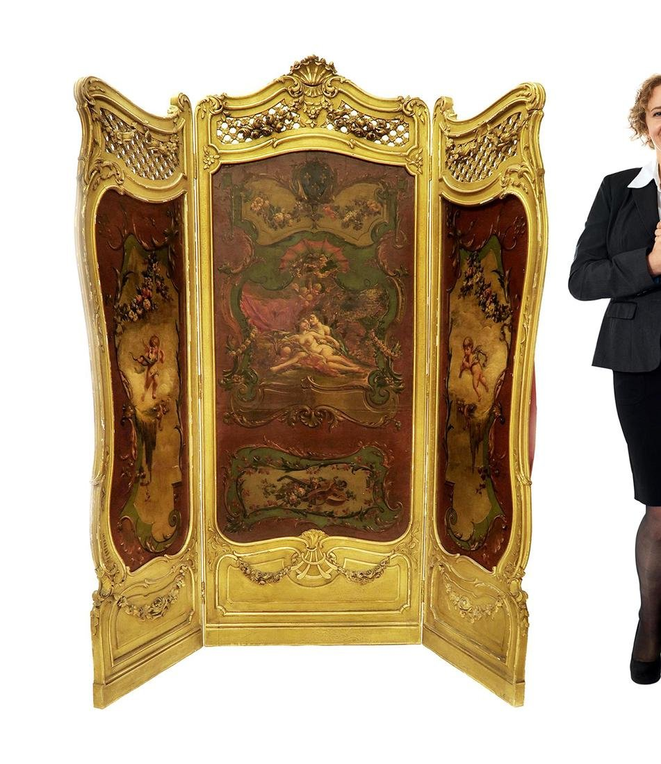 French 19th C. Louis XV 3 Panel Screen