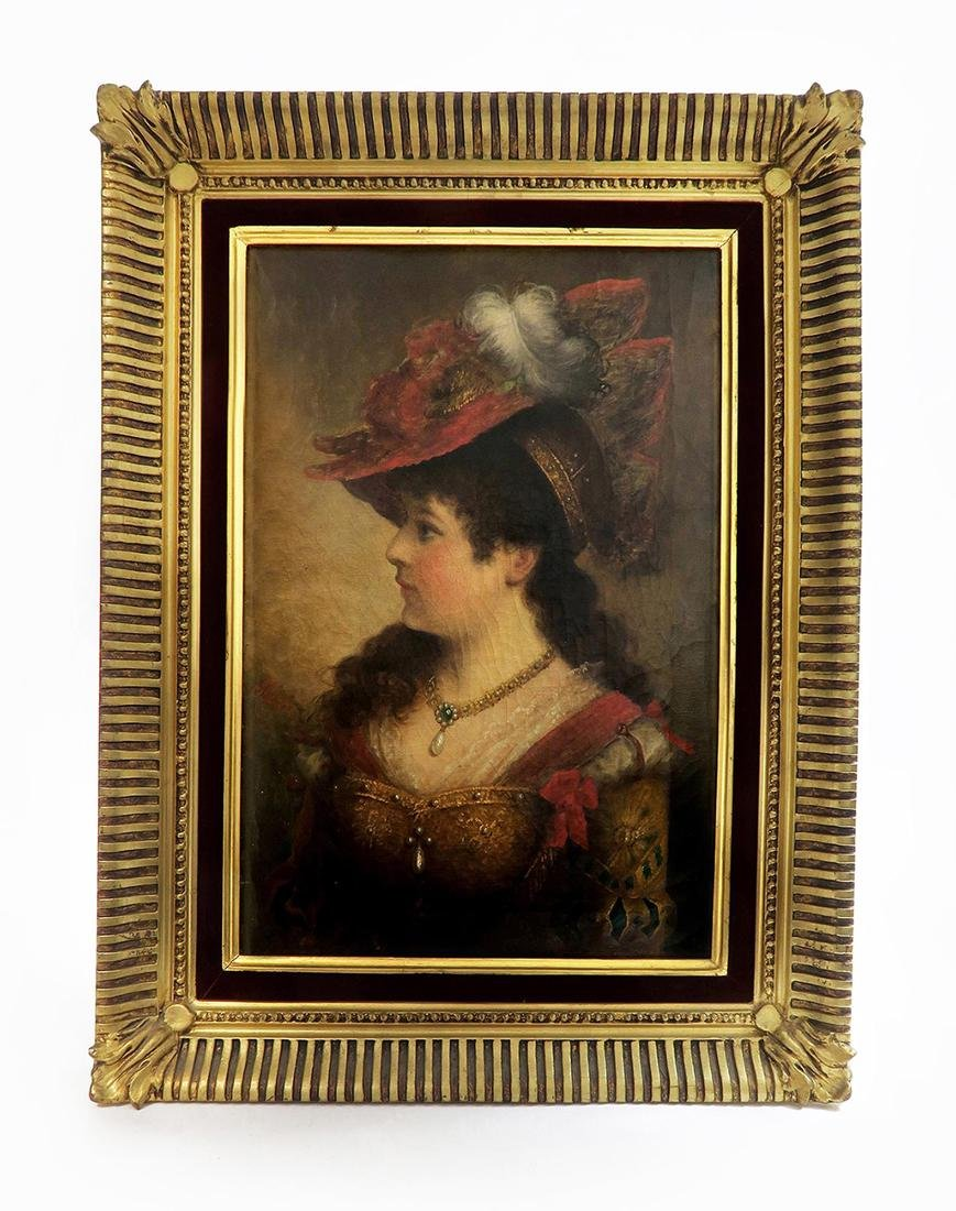 19th C. Framed Continental Oil on Canvas