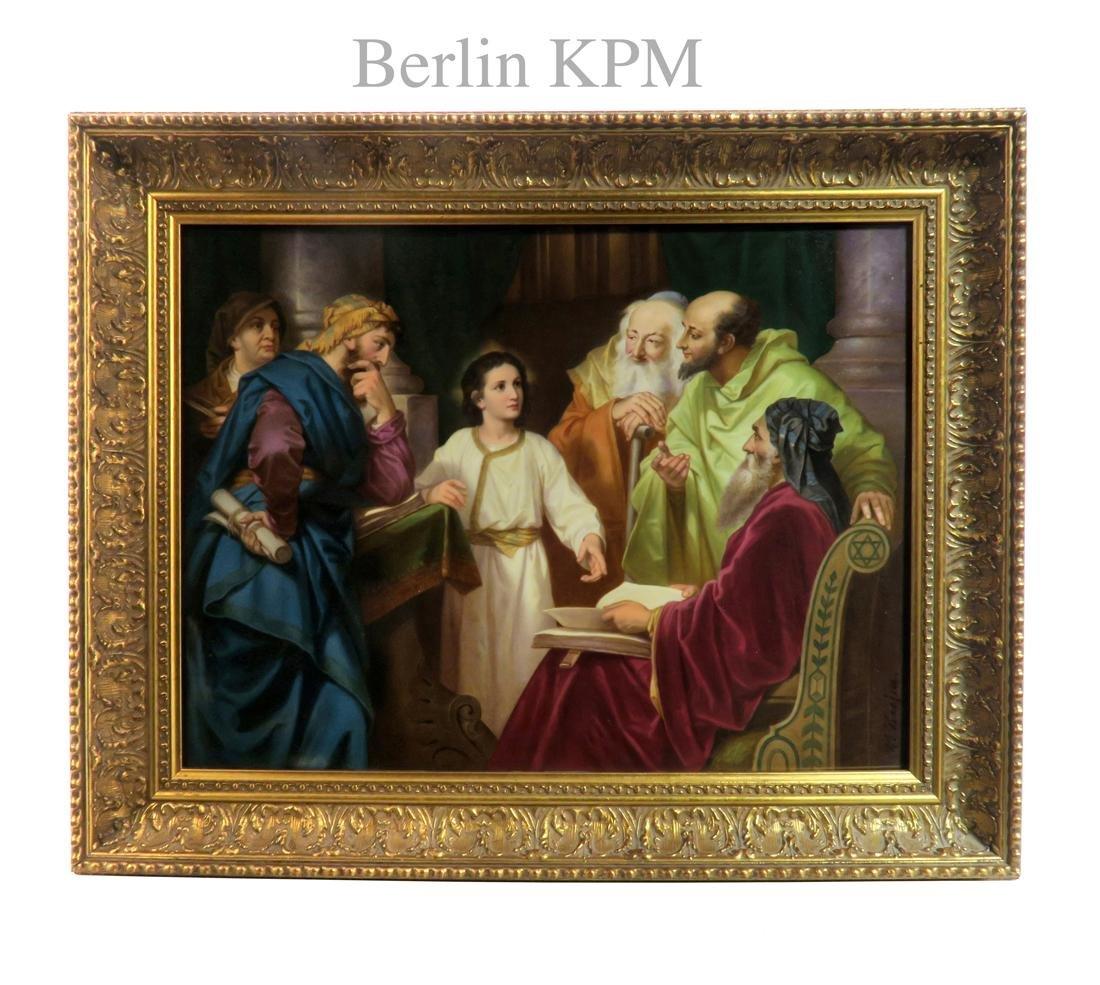 CHRIST IN THE TEMPLE, A LARGE KPM PORCELAIN PLAQUE