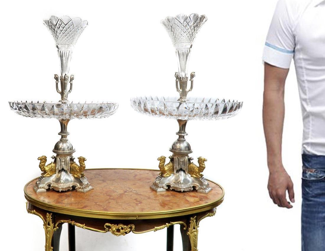 19th C. Fine Pair of English Victorian Centerpieces