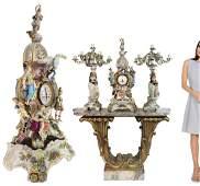 Monumental 19th C. Meissen Style Figural Clock Set