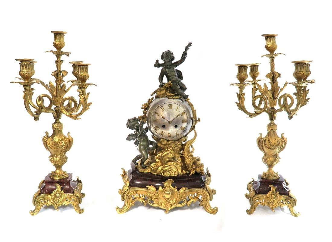 19th C. French Figural Bronze & Marble Clock Set