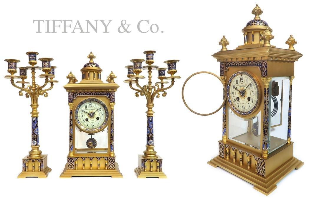 19th C. Tiffany & Co Champleve Enamel Clock Set