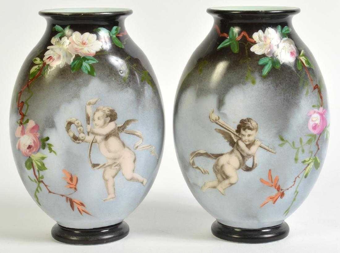 Pr. Rare Opaline Signed Baccarat Vases