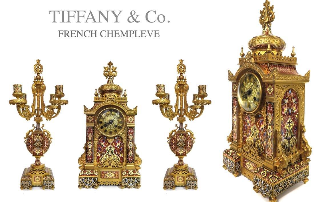 Tiffany & Co. Champleve Gilt Bronze Enamel Clock Set