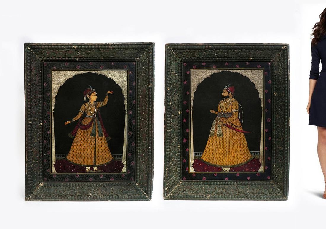 19th C. Indian Shah Jahan & Mumtaz Paintings on board