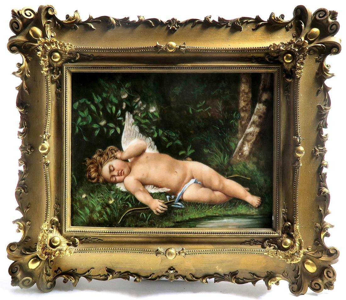 19th C. Large Berlin KPM Plaque of a Cupid/Angel