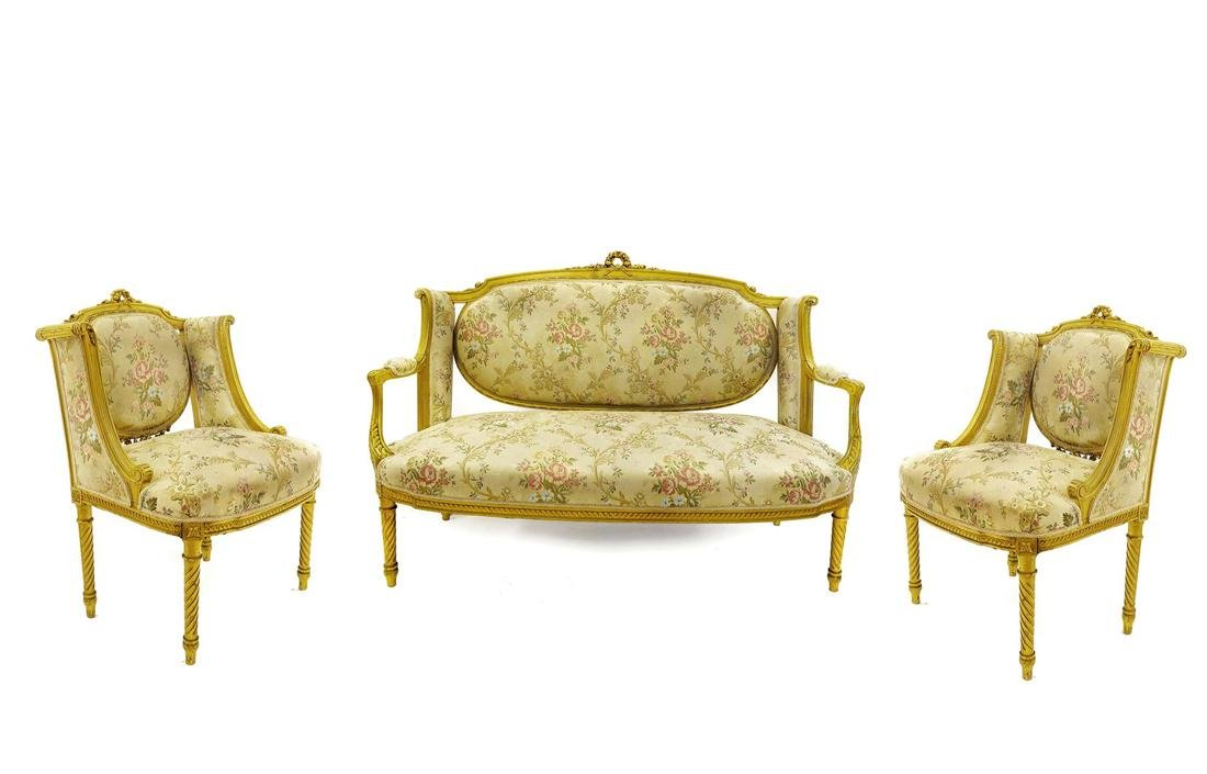 Fine 19th C. French Louis XVI Style Parlor Set