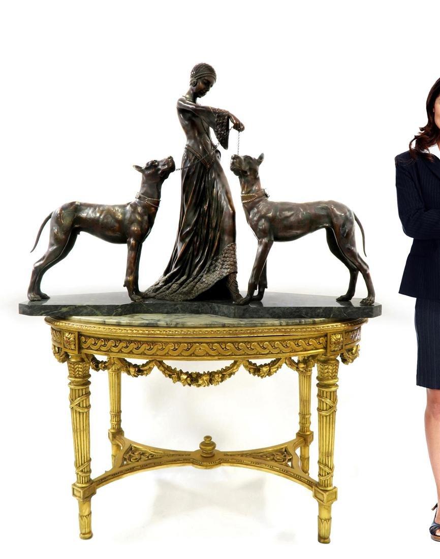 Demetre H. Chiparus Monumental Bronze Statues On Marble