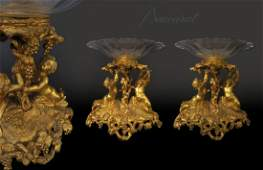 A Pair of Baccarat Crystal & Dore Bronze Centerpieces