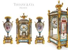 19th C. TIFFANY & Co. Sevres Champleve Enamel Clock Set