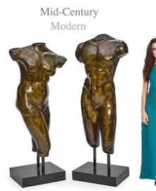 A PAIR OF MID-CENTURY MODERN BRONZE MALE & FEMALE NUDES