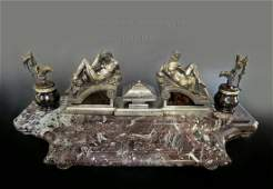 Magnificent Large F Barbedienne Figural Bronze Inkwell