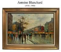 Parisian Street, Antoine Blanchard O/C Painting, Signed