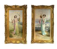 19th C. Pair of Large British Framed Oil on Canvas