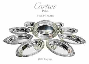 A Cartier Sterling Silver Nut Dishes Set (15 Pieces)
