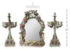 Large Meissen Figural Mirror & Candelabras, 19th C.
