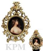 19th C. LARGE ROCOCO FRAMED BERLIN KPM OVAL PLAQUE