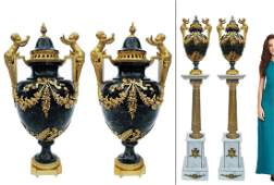 Pair of Large Green Marble & Gilt Bronze Figural Vases