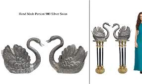 A Pair of Very large Persian Silver Swans, Signed
