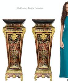 A Pair of 19th Century French Boulle Inlaid Pedestals