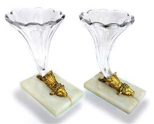 A Pair of Bronze & Baccarat Crystal Cornucopia Vases