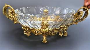 19th C. French Figural Bronze & Baccarat Centerpiece