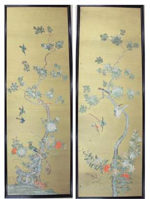 A LARGE PAIR OF OIL PAINTINGS ON PANEL, Chinese