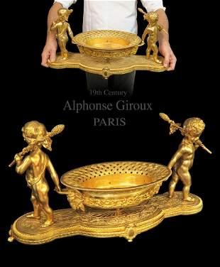 Large Alphonse Giroux Gilt Bronze Jardiniere, 19th C.