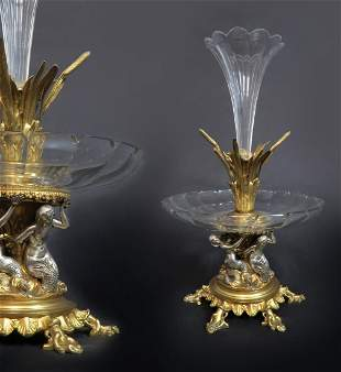 A Bronze & Baccarat Crystal Figural Centerpiece, 19th C