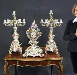Large 19th C. Meissen Figural Clock Set