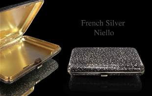 IMPRESSIVE 19TH C FRENCH SILVER NIELLO ENAMEL CIGAR BOX