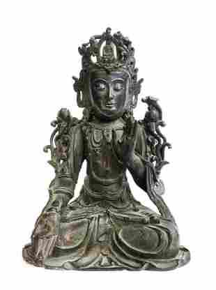 A Chinese Bronze Seated Buddha