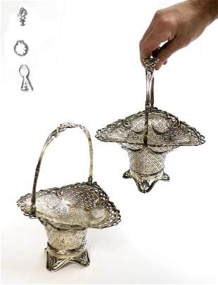 Pair of 19th C. Austrian Silver Basket with Crystal