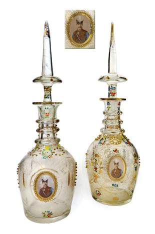 Near Pair of Persian Qajar Bohemian/Baccarat Decanters