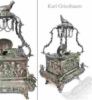 Karl Griesbaum Silver Mechanical Automaton Bird Box