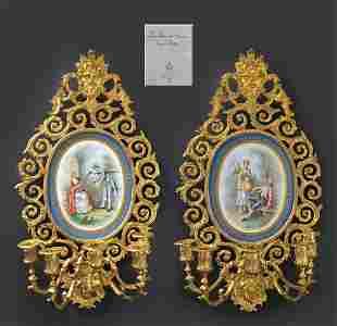 Large Pair of French Bronze & Sevres Porcelain Sconces