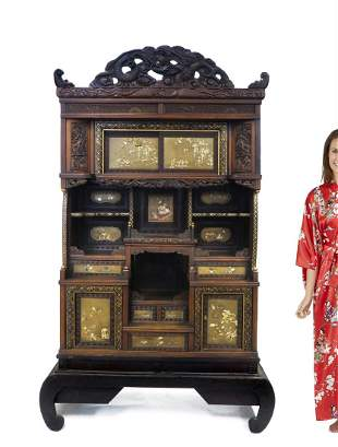 Japanese Black Lacquered Inlaid Shadona Display Cabinet