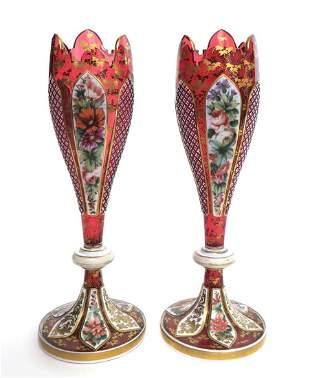 PAIR OF BOHEMIAN OVERLAID CRANBERRY GLASS VASES, 19TH C