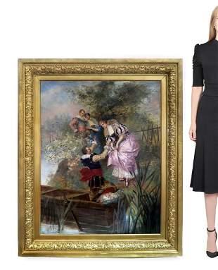 Eduardo-Leon Garrido (1856-1949) Large Oil on Canvas