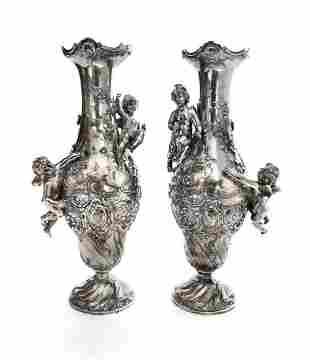 A Pair of Art Nouveau silver-plate Figural Vases