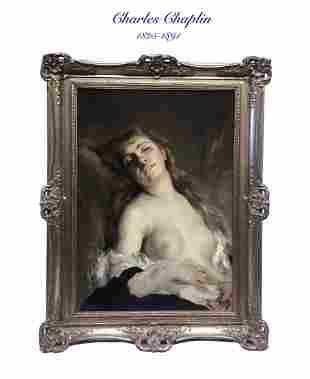 19th C. French Oil on Canvas By Charles Chaplin