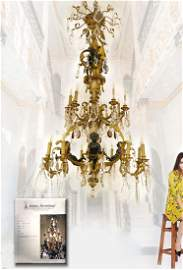 A Monumental DORE Figural Bronze / Baccarat Chandelier